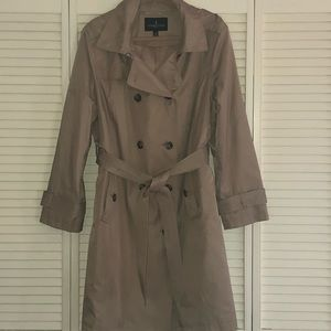 London Fog tan raincoat with removable hood.
